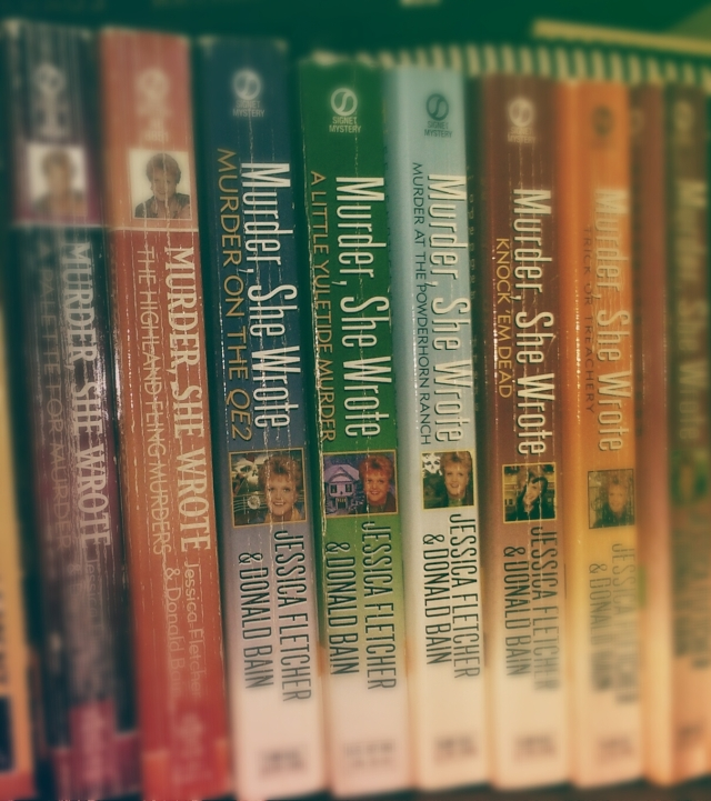 the spines of Murder, She wrote books