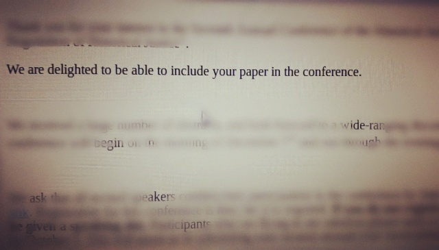 confirmation e-mail regarding a conference