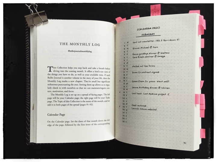 bullet journal method book monthly log