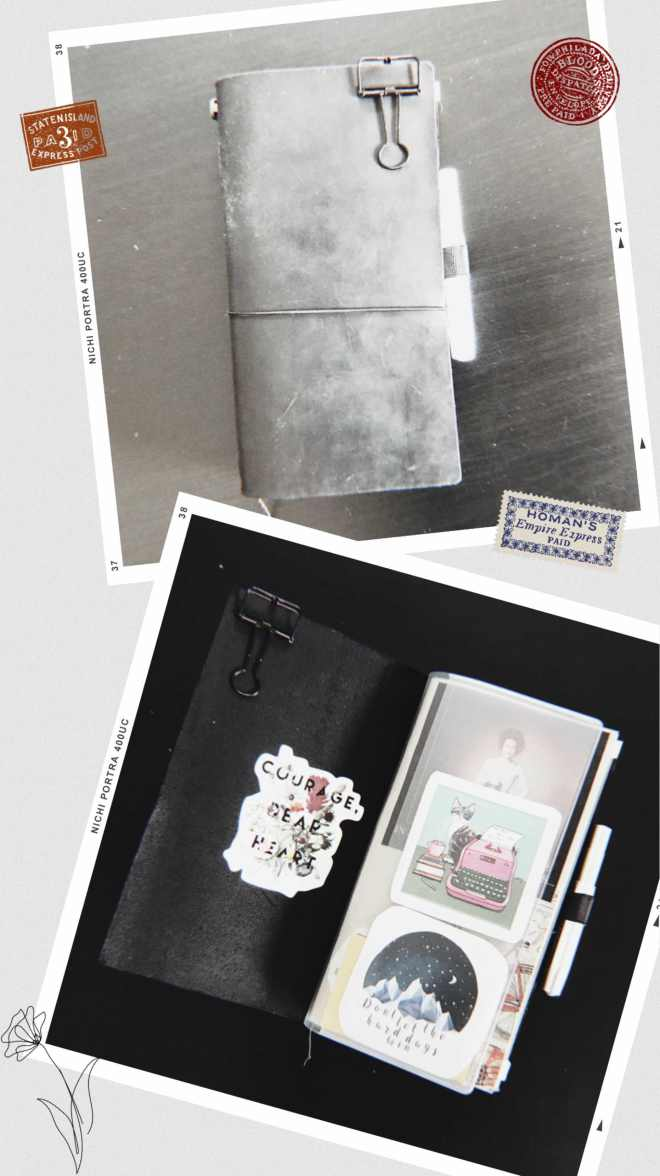 Collage Traveler's Notebook closed and open