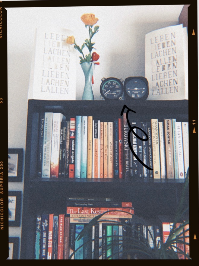 Bookshelf with decorations, flowers, old instruments