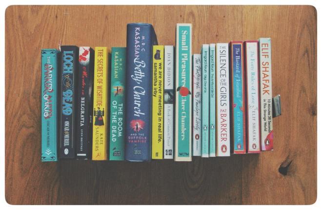 a row of books on the floor