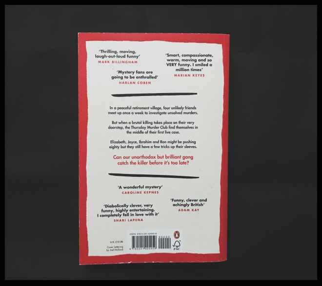 Back cover of Richard Osman's cozy mystery The thursday murder club
