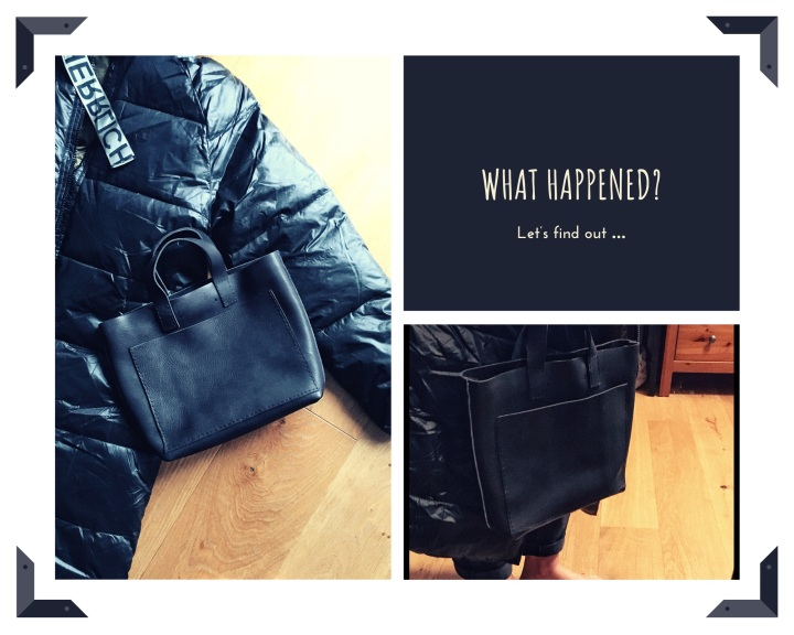 collage of DIY bag and Herrlicher padded coat