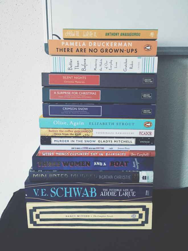 stack of books on a shelve