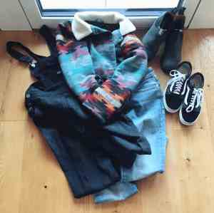 blundstone classic, vans platforms, iriedaily sherpa jacket, dungarees, denham jeans - overview of my shopping